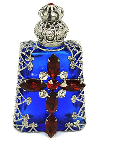 Gabriella's Gifts Czech Jeweled Decorative Christian Cross Perfume Oil Bottle Holder (Blue with Red Cross)