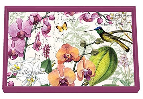 Michel Design Works 12.25 x 7.75'' Orchids in Bloom Wooden Decorative Vanity Tray by Michel Design Works