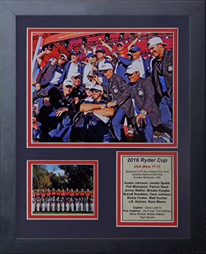 """2016 Ryder Cup Champions - USA 11"""" x 14"""" Framed Photo Collage by Legends Never Die, Inc."""