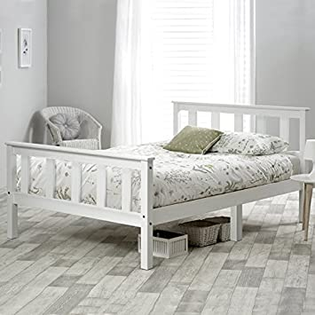 Life Carver Single Bed White 3ft Solid Pine Wooden Bed Frame For