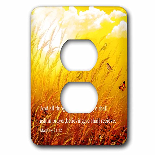 3dRose Dream Essence Designs-Bible Quotes - Bible scripture from Mathew on a meadow with birds and butterflies. - Light Switch Covers - 2 plug outlet cover (lsp_266087_6)