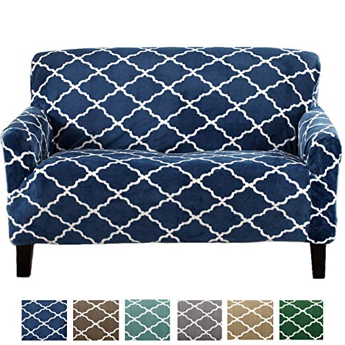 Great Bay Home Modern Velvet Plush Strapless Slipcover. Form Fit Stretch, Stylish Furniture Shield/Protector. Magnolia Collection Strapless Slipcover Brand. (Loveseat, Navy)
