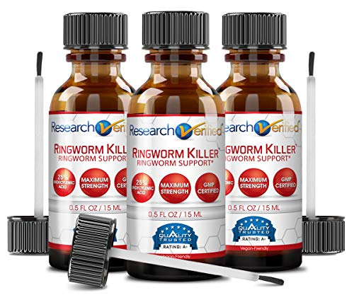 Research Verified Ringworm Killer - 3 Bottles - The Best Relief for Ringworm - 25% Undecylenic Acid and Tea Tree Oil. Reduce Infection Duration, Frequency and Severity. 100% Money Back Guarantee!