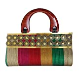 Partywear Designer Evening Embroidered Clutch Purse Sling Bridal Wedding Clutch Handbag Purse For Women Girls Stylish Branded With Handle Sequined Beaded Thread Work By Chalissa ON SALE!!!! (MULTI-COLOR)