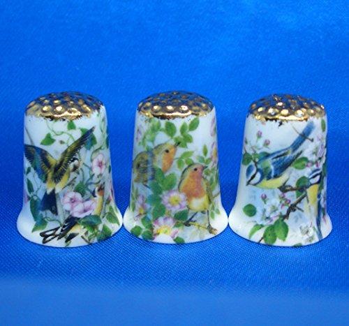 Porcelain China Collectable Thimbles - Set of Three Gold Garden Birds