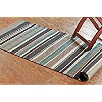 Rugolution Hand-made 24 x 6 / 70x180 cm Multi-color Stripes Runner Rug, 100% cotton, Style: 1996