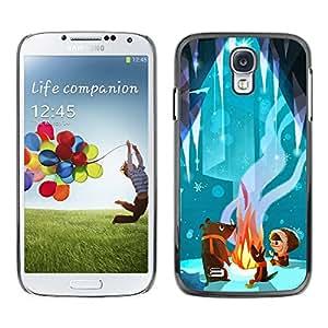 [Neutron-Star] Snap-on Series Teléfono Carcasa Funda Case Caso para Samsung Galaxy S4 [Cuento de hadas del oso lindo de la historieta del cabrito Fuego]