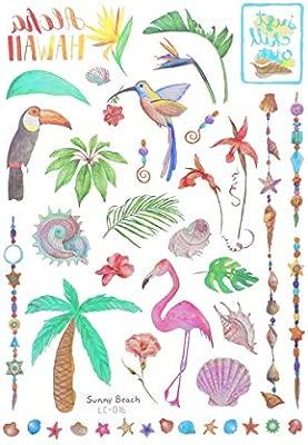 AMOSFUN Tema Hawaiano Tatuajes temporales Pegatinas niños ...