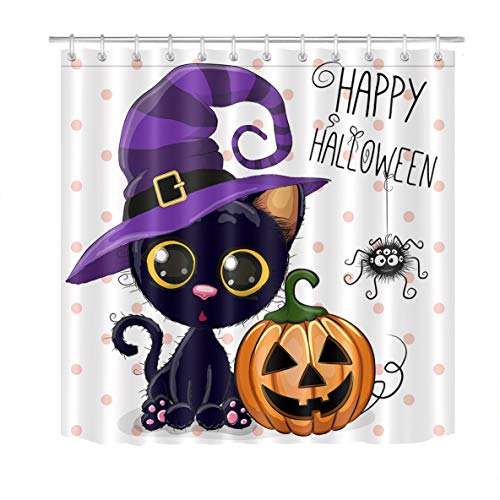 LB Halloween Pumpkins Shower Curtain Set Cartoon Cat Magic Hat Dots Bathroom Curtain Party Decor,Bath Curtain Hooks Include,72x72 inch Waterproof Fabric Antibacterial Mildew Resistant -