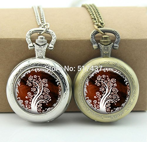 Couture Locket - Pretty Lee Brown White Tree Pocket Watch Floating Glass Lockets Necklace Vintage Pocket Watch Necklace