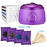 [FDA Certified] Yeelen Hair Removal Hot Wax Warmer Waxing Kit Wax Melts + 4 Flavors Hard Wax Beans + 10 Wax Applicator Sticks