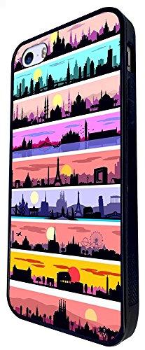 1051 - Cool Fun Cute World Travel London India Paris New York Design iphone SE - 2016 Coque Fashion Trend Case Coque Protection Cover plastique et métal - Noir