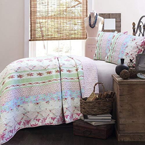 Cozy Line 100% Cotton Lightweight Simply Vintage Cottage Bedding Quilt Set Pink Roses Floral Patchwork Bedspread, 3 Pieces King (Wild Rose, King - 3 -