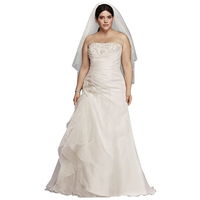 Davids Bridal Extra Length Organza And Lace Plus Size Ruched