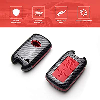 TANGSEN Smart Key Fob Case for KIA Cadenza K900 4 Button Keyless Entry Remote Personalized Protective Cover Plastic Carbon Fiber Pattern Red Silicone: Automotive