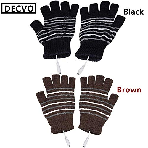 (DECVO USB 2.0 Powered Stripes Heating Pattern Knitting Wool Heated Gloves Fingerless Hands Warmer Mittens Laptop Computer Warm Gloves for Women Men Girls Boys 2 Pack (Black+Brown))