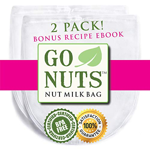 2-PACK Best Nut Milk Bag - Restaurant Commercial Grade by GoNuts - Cheesecloth Strainer Filter For the Best Almond Milk, Cold Brew Coffee, Tea, Juicing, Yogurt, Tofu - BPA-Free Nylon 12