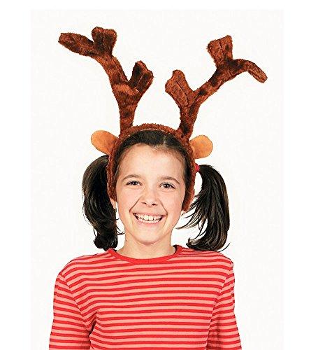 Deluxe Plush Reindeer Antlers Headbands (2 Pack)