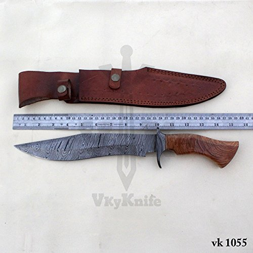 Handmade Damascus Steel Hunting Bowie Knife with Leather Sheath outdoor camping 15.50 Inches vk1055 by JNR TRADERS (Image #4)