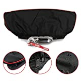 Winch Cover,Waterproof Soft Winch Dust Cover Driver Recovery 8,500 to 17,500 Pound Capacity (Red Stripe Edge )