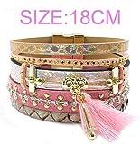 Olive Tayl 17 New Leather Bracelet Tassel Crystal Bohemian Bracelets Bangles for Women Jewelry Wholesale,pink18cm