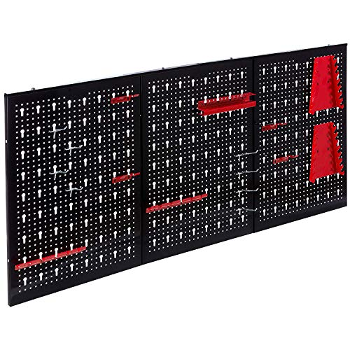 (Garage Wall Tool Rack Pegboard + Shelf Tool Organiser/Holder – Wall-Mounted/Fixed, Includes 17 Assorted Hooks – Ideal for Home, Shed, Workshop or Garage)