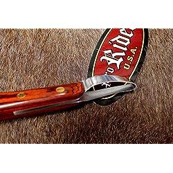 SS Polished Wood Handle Horse Equine Grooming Loop Hoof Knife Farrier Tool 98408