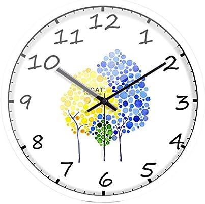 SESO UK- Modern creativo reloj de pared de dibujos animados de cuarzo mudo personalidad niños relojes de metal dormitorio sala de estar (Color : Blanco, ...