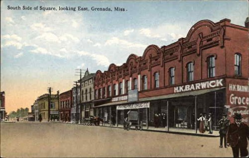 South Side of Square, looking East Grenada, Mississippi Original Vintage Postcard