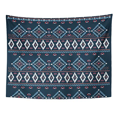 Brown Needlepoint Paisley (Semtomn Tapestry Wall Hanging Blue Border Drawing Tribal Ethnic Pattern Designs and Navy 60