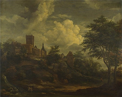 The High Quality Polyster Canvas Of Oil Painting 'Imitator Of Jacob Van Ruisdael A Castle On A Hill By A River ' ,size: 8 X 10 Inch / 20 X 26 Cm ,this High Quality Art Decorative Prints On Canvas Is Fit For Gift For Girl Friend And Boy Friend And Home Gallery Art And Gifts