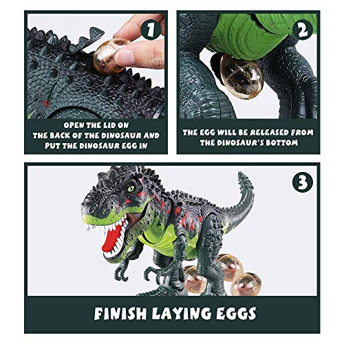 Electronic Walking Dinosaur T-Rex with Simulated Flame Spray Fire Breathing, Water Mist Spray, Laying Eggs, Light Up…