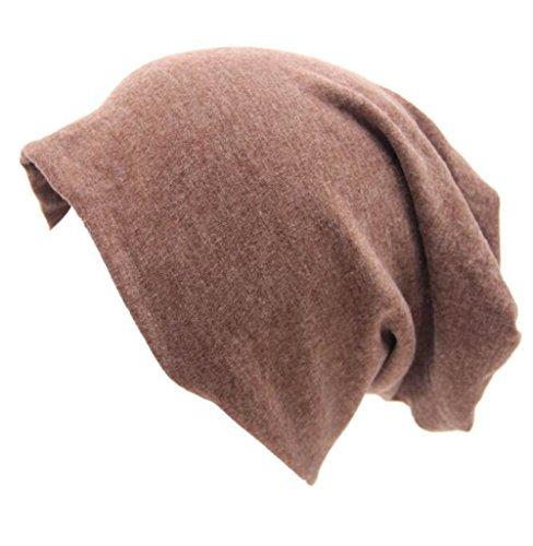 Century Star Unisex Women Thin Solid Baggy Slouchy Oversized Cotton Sleep Beanie Hat Skull Cap Light Coffee