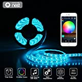 LED Light Strip RGB Strip Lights LED Tape Lights Compatible with Alexa/Google Home Waterproof 12V 5050 RGB Flexible Rope Light Kit Smart Phone APP Remote Controlled Light for Indoor Outdoor Home