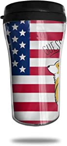CZJAHBL Cute Corgi Ass American Flag Travel Coffee Mug Delicate Printing Portable Vacuum Cup,Food Grade Abs Insulated Cup Anti-Spill(8.8 Oz)