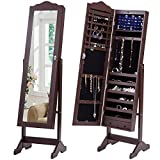 Giantex Jewelry Cabinet with Mirror and 2 Drawers Dressing Full Length Mirrored Lockable Free Standing Jewelry Armoire Organizer with 2 Drawer & 3 LED Lights, Brown