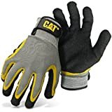 CAT CAT017415L Double Coated Textured Latex Palm with Black and Yellow Fingers with a Gray Polyester Back. Size Large