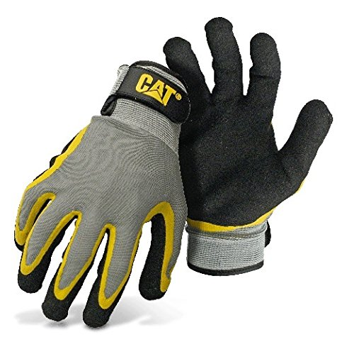 cat-cat017415l-double-coated-textured-latex-palm-with-black-and-yellow-fingers-with-a-gray-polyester