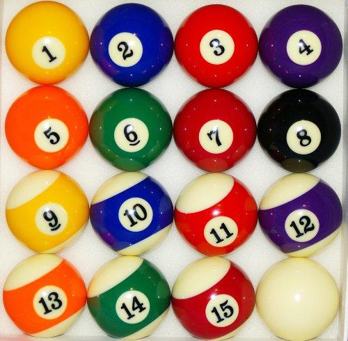 nanook Sport Pool Billardkugeln, hochglanzpoliert, 16 Stück, Standardgröße: 57,2 mm