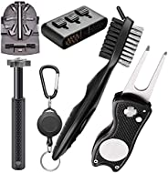 Gzingen Golf Accessories Gift Set-Golf Club Brush with Groove Cleaner, Golf Club Groove Sharpener, Foldable Di