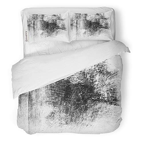 Emvency 3 Piece Duvet Cover Set Brushed Microfiber Fabric Breathable Abstract Monochrome Includes Effect The Black and White Tones Bedding Set with 2 Pillow Covers Twin Size