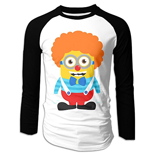 (Creamfly Mens Clown Minions Long Sleeve Raglan Baseball Tshirt)