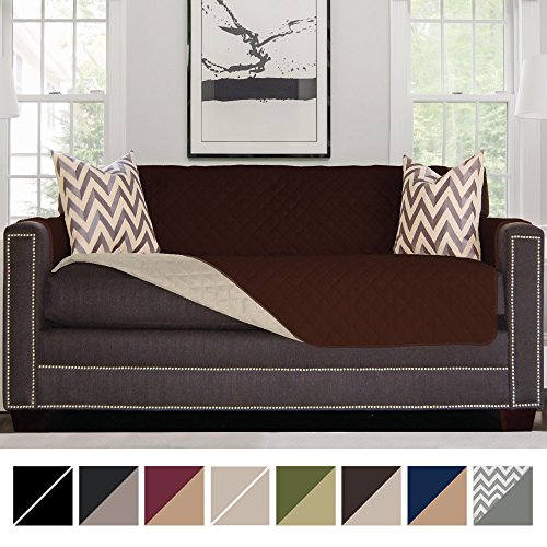 "Sofa Shield Original Reversible Couch Slipcover Furniture Protector, Seat Width Up to 70"", 2 Inch Strap, Machine Washable, Slip Cover Throw for Pets, Dogs, Kids (Sofa: Chocolate/Beige)"