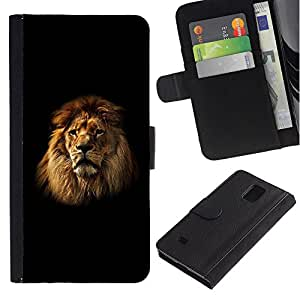 Billetera de Cuero Caso Titular de la tarjeta Carcasa Funda para Samsung Galaxy Note 4 SM-N910 / Lion Mane Black Minimalist Powerful / STRONG