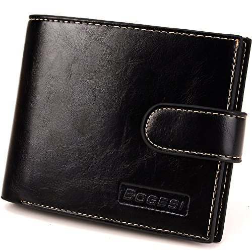 Men's PU Leather Flipout ID Card Bifold Wallet (Black)