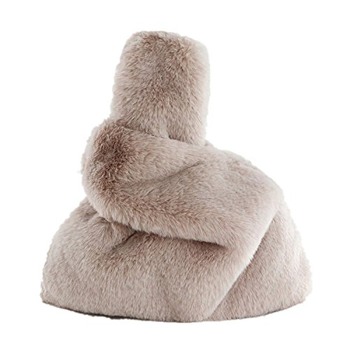 3bcfd1f802a9 Marchome Faux Rabbit Fur Pull Through Strap Wrist Handbag Purse for Women  Apricot