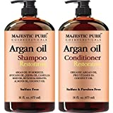 Argan Oil Shampoo and Conditioner, from Majestic Pure, Sulfate Free, Vitamin Enriched, Volumizing & Gentle Hair Restoration Formula for Daily Use, For Men and Women, 16 fl oz each …