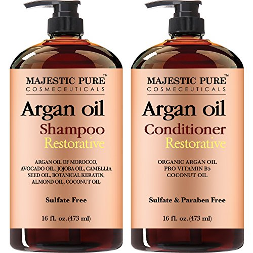 Majestic Pure Argan Oil Shampoo & Conditioner Set, Sulfate Free, Vitamin Enriched, Volumizing & Gentle Hair Restoration Formula for Daily Use, For Men and Women, - 16 fl oz each - Exclusive Hair Formula