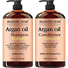 Majestic Pure Argan Oil Shampoo & Conditioner Set, Sulfate Free, Vitamin Enriched, Volumizing & Gentle Hair Restoration Formula for Daily Use, For Men and Women, - 16 fl oz each