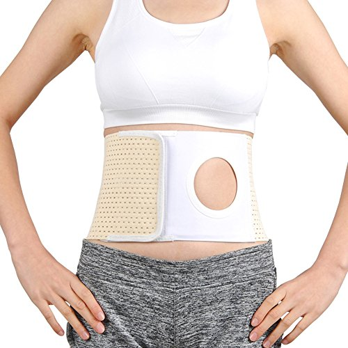 Whthteey Elastic Ostomy Hernia Belt for Waist Abdominal with Stoma Opening (L, Beige)